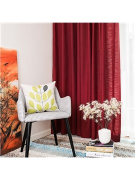 Contemporary Concise Solid Linen Grommet Top Custom Curtain