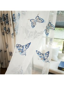 Blue Embroidery Butterfly Cotton Linen Blending Custom Sheer Curtain