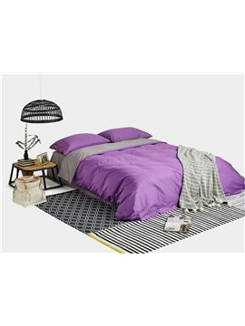 Luxury Purple Reversible Combed Cotton 4-Piece Duvet Cover Sets