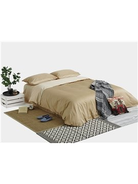 Organic Solid Camel Combed Cotton 4-Piece Duvet Cover Sets