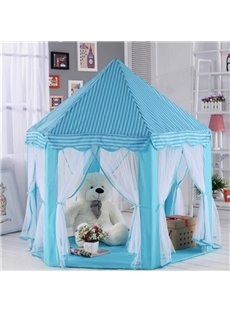 Sky Blue Stripe Pattern Hex-angular Kids Indoor Tent