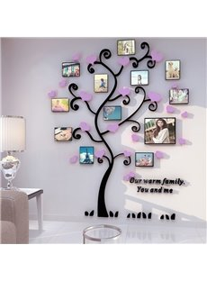 Our Warm Family Tree Photo Frame with Heart Decorations 3D Wall Stickers