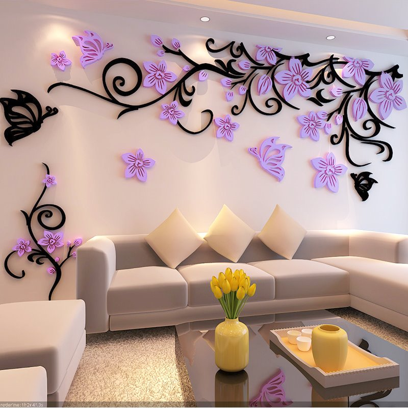 Fabulous Acrylic Three-dimensional Flower Pattern Home Decorative 3D Wall Stickers