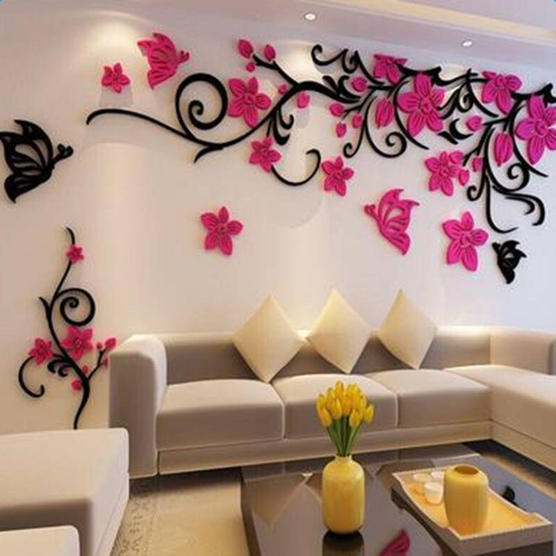 Fabulous Acrylic Three-dimensional Flower and Butterfly Pattern Home Decorative 3D Wall Stickers