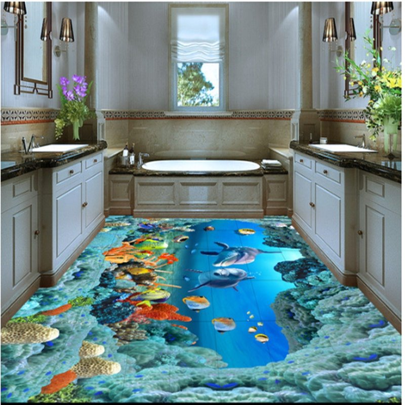 Aesthetic Dolphins and Beautiful Corals under the Sea Waterproof Splicing Custom 3D Floor Murals