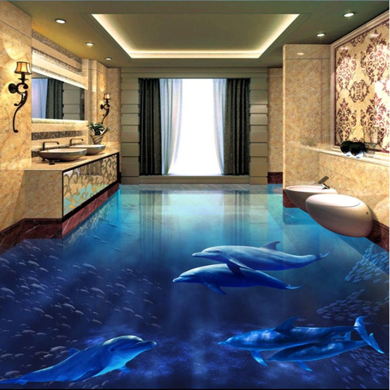 realistic blue dolphins pattern wallpaper waterproof. Black Bedroom Furniture Sets. Home Design Ideas