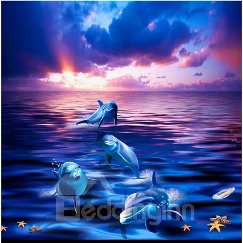 Gorgeous Sunset Dolphin In The Sea Scenery Waterproof