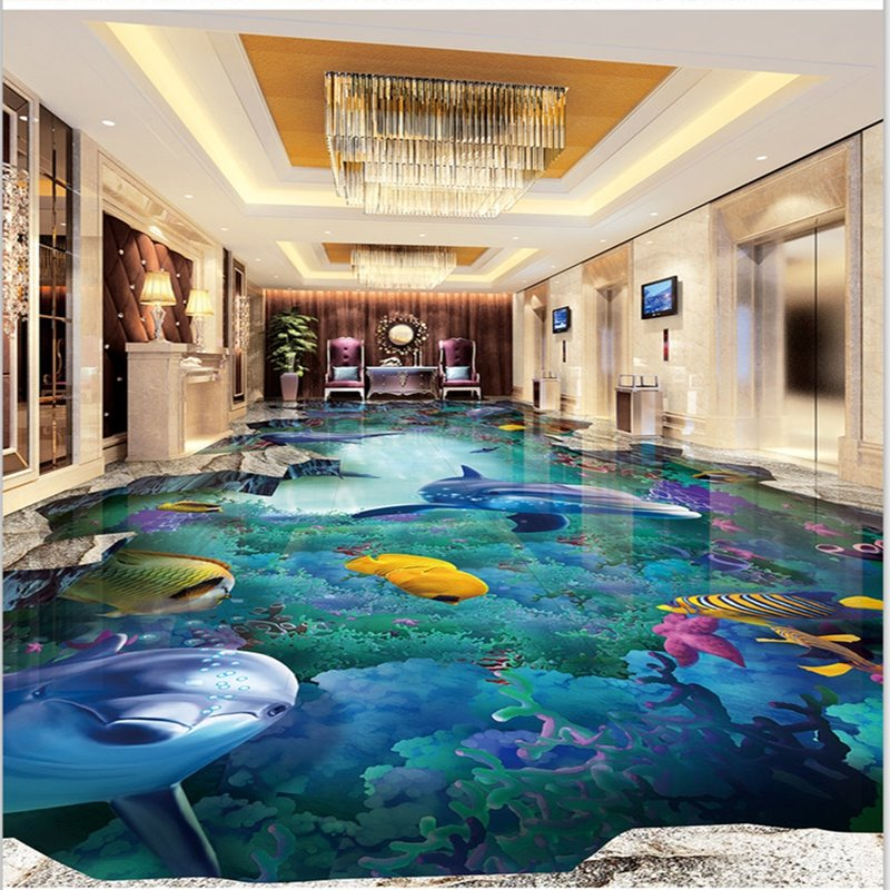 amazing dolphins and fishes undersea scenery wallpaper waterproof 3d floor murals. Black Bedroom Furniture Sets. Home Design Ideas
