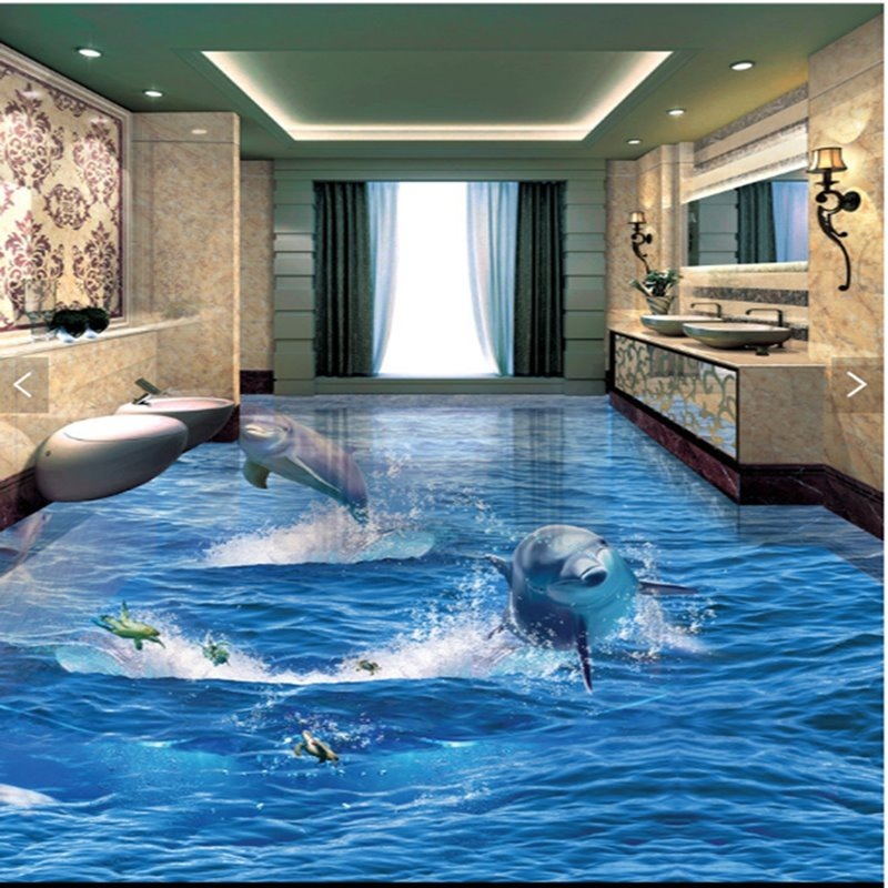 Incredible Design Jumping Dolphins And Turtles Decorative Splicing Waterproof 3d Floor Murals