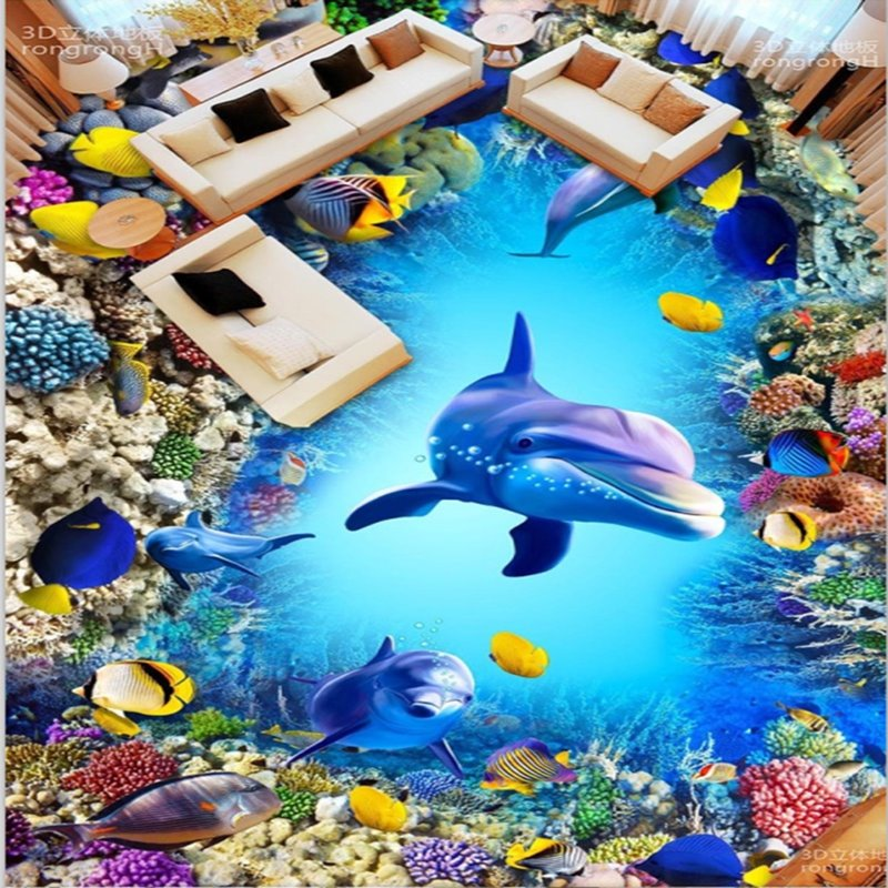 Fancy design dolphins and fishes pattern wallpaper for 3d waterproof wallpaper