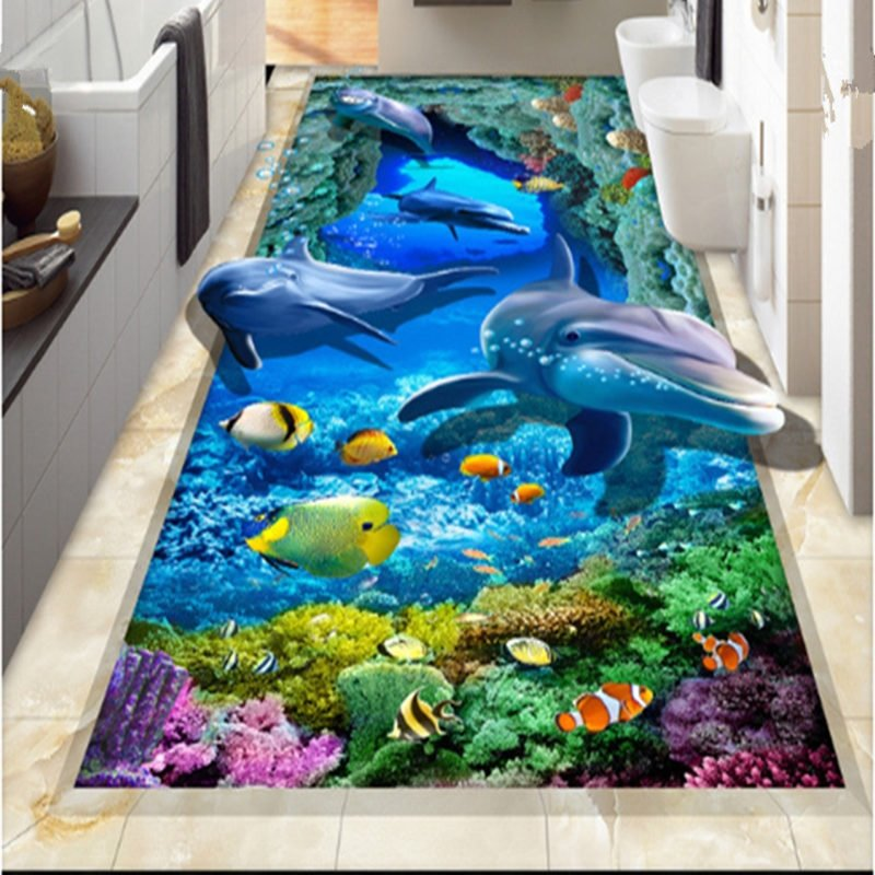 Unique design vivid dolphin and fish sea scenery for 3d murals for sale