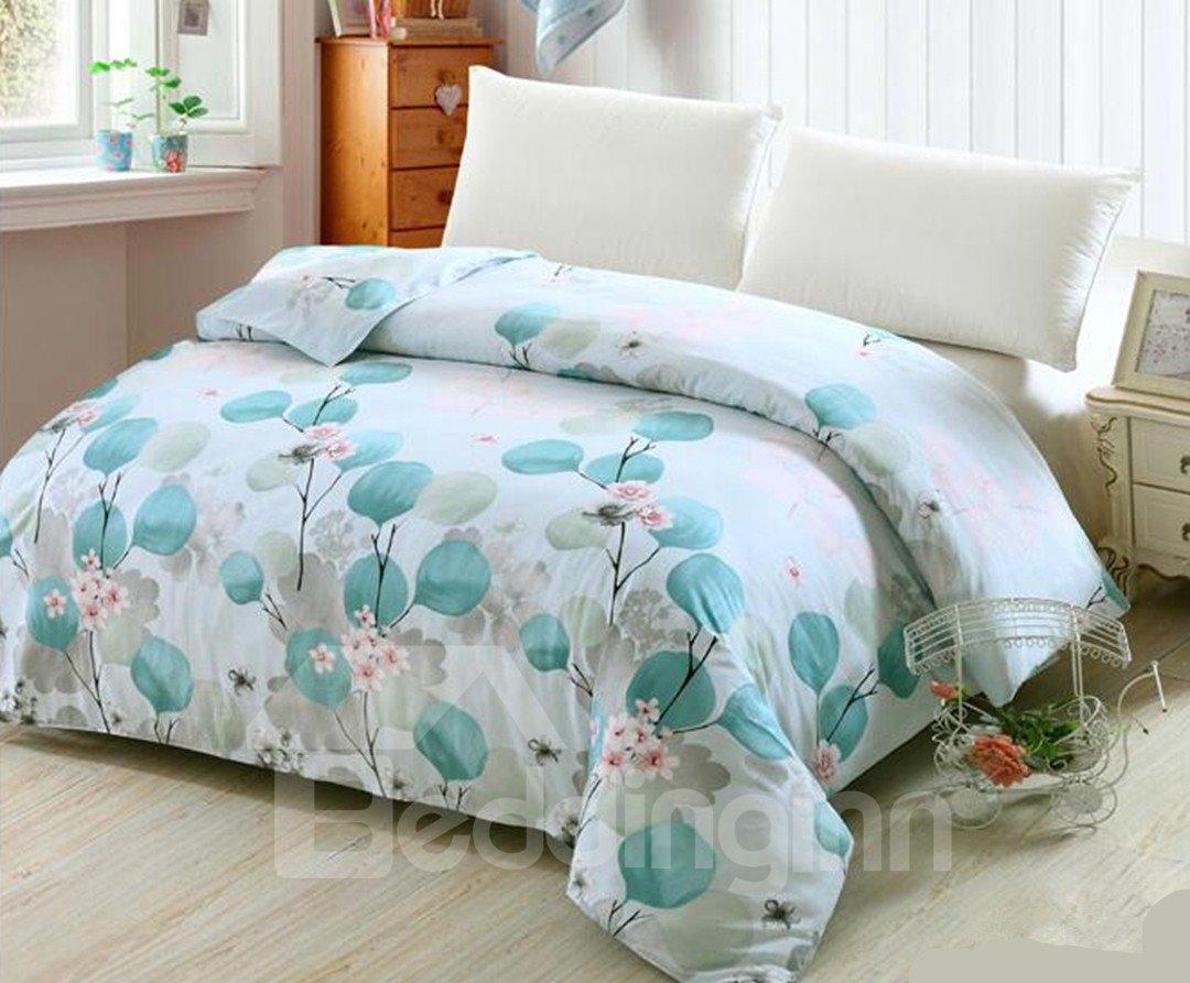 Elegant Leaves Print Light Blue 4-Piece Cotton Duvet Cover Sets