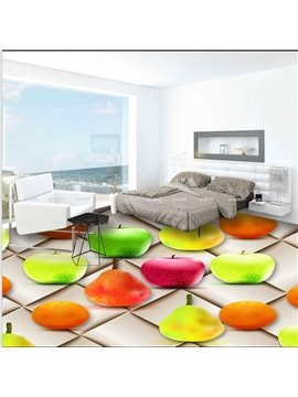Fresh Colorful Fruit Pattern Home Decorative Antiskid and Waterproof 3D Floor Murals
