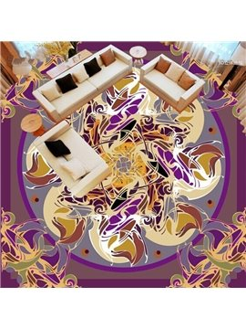 Purple Round Flowers Pattern Design Home Decorative Splicing Waterproof 3D Floor Murals