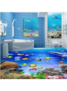 Decorative Fishes in the Sea Pattern Wearproof Splicing Waterproof 3D Floor Murals