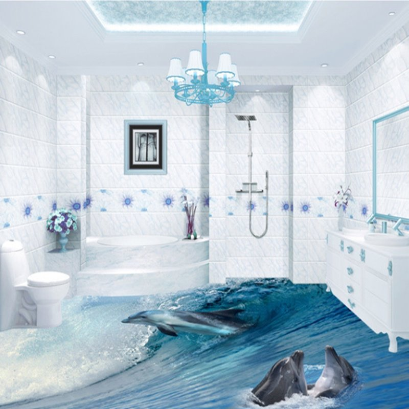 Awesome dolphins in sea wave pattern bathroom decoration for Waterproof bathroom murals