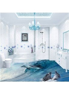 Awesome Dolphins in Sea Wave Pattern Bathroom Decoration Waterproof 3D Floor Murals