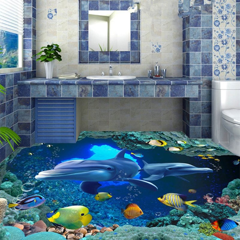 Simple style blue dolphins pattern bathroom decoration for Waterproof bathroom murals