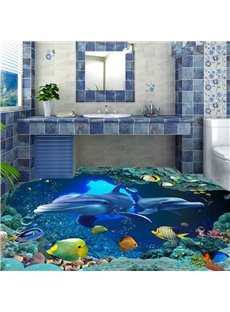 Simple Style Blue Dolphins Pattern Bathroom Decoration Waterproof 3D Floor Murals
