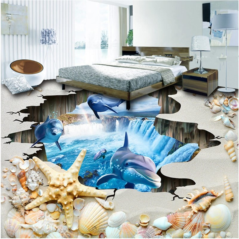Amazing dolphins in a broken hole waterfall background Amazing 3d floor design