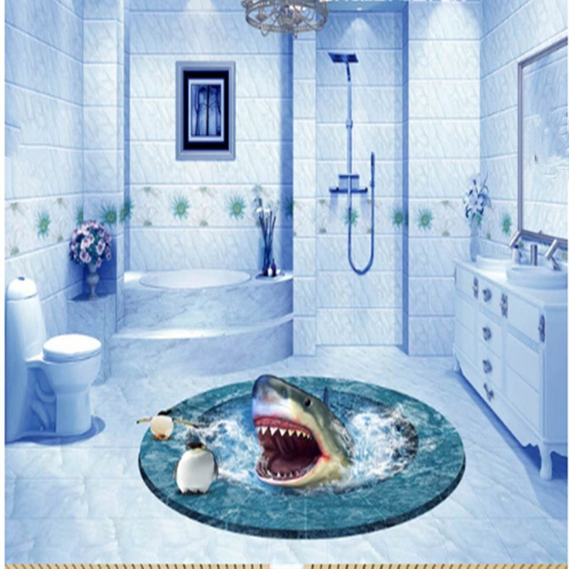 Round creative shark in a hole bathroom decoration for Bathroom floor mural