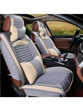 Fashion Cool Contrast Color Style Design Main Comfortable Flax Material Universal Car Seat Cover