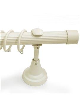 Classical White End Cap Single Window Treatment Rod Set