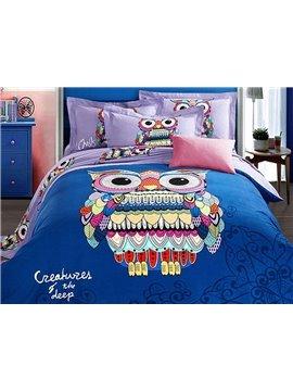 Amazing Colorful Owl Pattern Kids Cotton 4-Piece Duvet Cover Sets