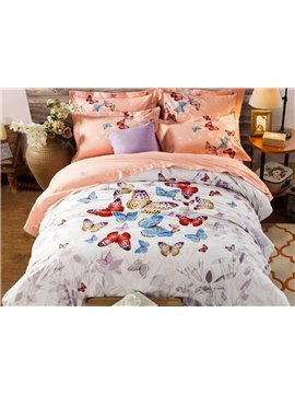 Vivid Colorful Butterfly Pattern Kids Cotton 4-Piece Duvet Cover Sets
