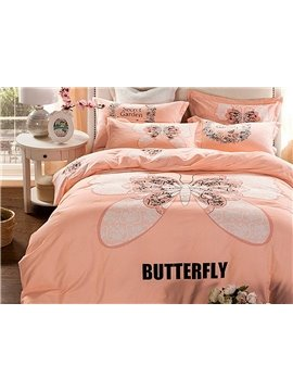 Big Butterfly Pattern Kids Cotton 4-Piece Duvet Cover Sets