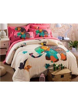 Creative Colorful Elephant Pattern Kids Cotton 4-Piece Duvet Cover Sets