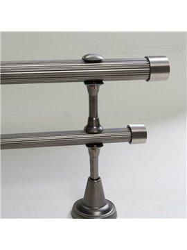 Classical Silvery Color End Cap Double Window Treatment Rod Set