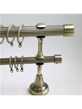 Classical Golden Color End Cap Double Window Treatment Rod Set