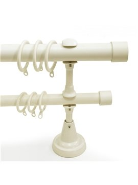Concise White 1-Inch Urn Window Treatment Iron Double Rod Set