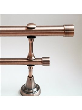 Concise Pink Gold Color 1-Inch Urn Window Treatment Iron Double Rod Set