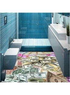 Creative Different Kinds of Money Pattern Design Decorative Waterproof 3D Floor Murals