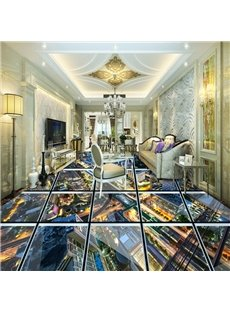 Realistic Transparent Glass City Scenery Pattern Splicing Waterproof 3D Floor Murals