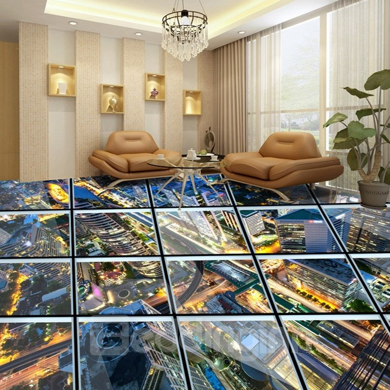 Realistic Transparent Glass City Scenery Pattern Splicing
