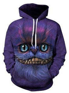 Cool Long Sleeve Creative Cat Face Pattern Pocket 3D Painted Hoodie