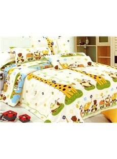Cartoon Giraffe Print 3-Piece Cotton Duvet Cover Sets