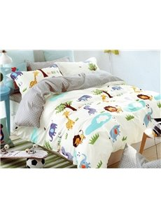 Lovely World of Animals Print 3-Piece Cotton Duvet Cover Sets