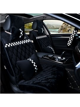 Small Square Grid Pattern Design Cozy Velvet Material Universal Car Seat Cover