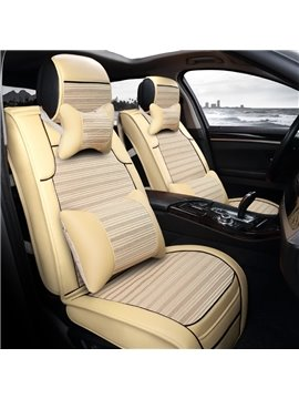 New Unique Fashion Design Mixing PU Leather With Ice Silk Material Universal Car Seat Cover