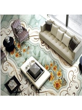 Elegant European Style Flower Pattern Antiskid and Waterproof 3D Floor Murals