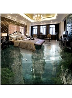 Transparent Vivid Natural Mountain Scenery Home Decorative 3D Floor Murals