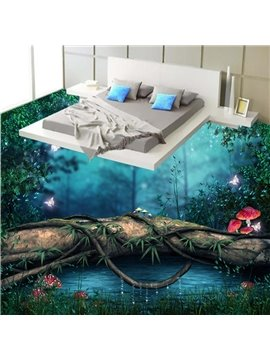 Wonderful Lake in the Forest Quiet Night Scenery Pattern Waterproof 3D Floor Murals