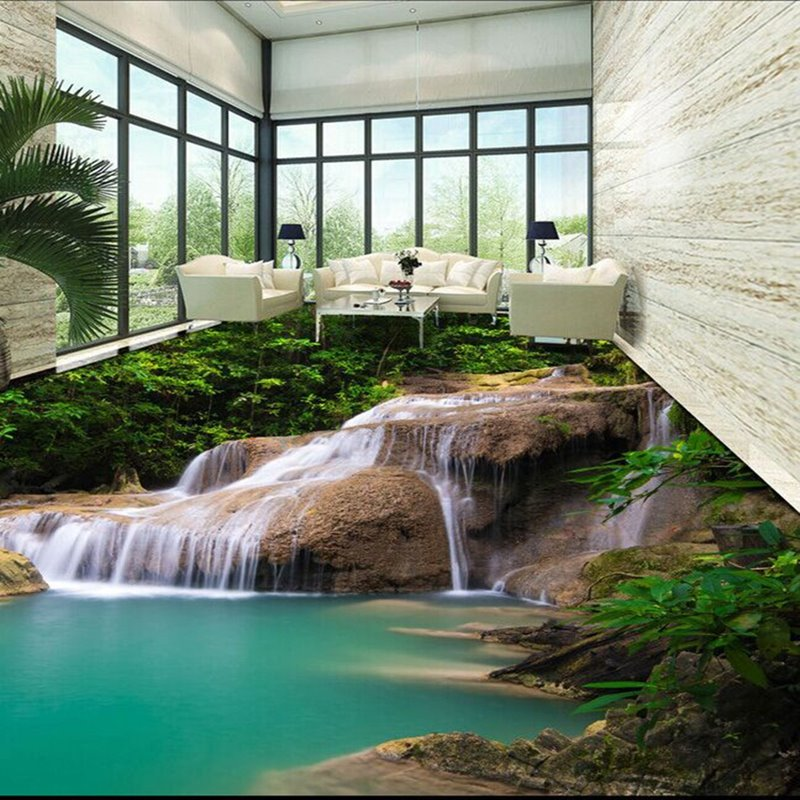 Realistic Natural Stream in the Mountain Pattern Decorative Waterproof 3D Floor Murals