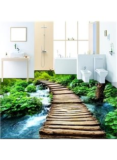 Unique Design Wooden Bridge over the River Pattern Decorative Waterproof 3D Floor Murals