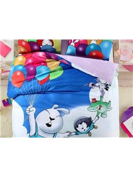 Cute Rabbit with Color Balloon Print 4-Piece Cotton Duvet Cover Sets