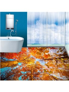 Wonderful Autumn Golden Leaves Pattern Bathroom Decoration Waterproof 3D Floor Murals